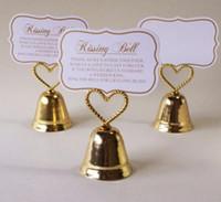 sino de beijo de casamento venda por atacado-favor do casamento decoração do partido - beijando sino titular do cartão de nome do lugar do casamento