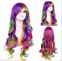 kıvırcık yay toptan satış-Ücretsiz kargo + + + Cosplay Uzun Çok Renkli peruk Gökkuşağı Kaya Bahar Buketi Kıvırcık Peruk