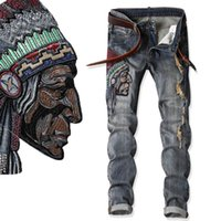 Wholesale native american fashions - Native American Indian Chief Embroidery Jeans Men Ethnic Patch Punk Distressed Designer Street Fashion Cool Jean Unique Denim