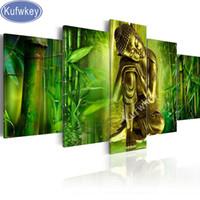 ingrosso pittura di arte della parete di bambù-Diamond Painting lucky bamboo Buddha Icon Diamante Pieno Mosaico Motivo Diamante Ricamo Cristallo Immagine di Strass Wall Art