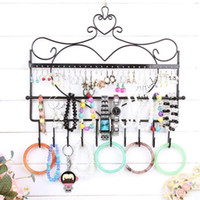 Wholesale mounted stud earrings - Wrought iron wall mounted frame earrings necklace holder stud earring accessories storage rack jewelry plaid pavans display rack