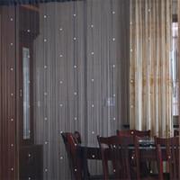 cortinas de janela de cristal venda por atacado-Prático Partição Quarto Cortinas Da Janela de Cristal Contas Decoração de Casa Pendurado Cortina de Design de Moda Blackout Multi Color Venda Quente KK