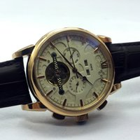 Wholesale Mechanical Watches Skeleton Square - Switzerland Famous Moon Phase Top Brand Mens Mechanical Watches Automatic Tourbillon Skeleton Watch Men Calendar Relogio Masculino dropship