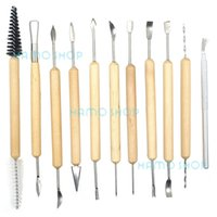 Wholesale Clay Tool Kit - 11pcs Clay Sculpting Set Wax Carving Pottery Tools Shapers Polymer Modeling Kits