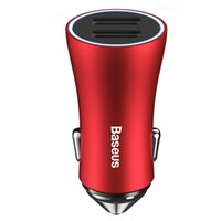 adaptador para iphone usb venda por atacado-Baseus USB Car Charger LED Carregador de Celular para Carregador Car Adapter Car 2 USB para iPhone e Tablet