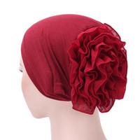 bufanda musulmana flores al por mayor-Musulmán Hijab Turbante Árabe Cabeza bufanda Flor Mujer Chemo Cap Algodón Bandana
