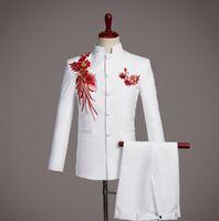 traje de pantalón de boda de lentejuelas blancas al por mayor-Chorus novio trajes de boda para hombres traje de túnica chino Sequin moda slim masculino últimos diseños de pantalón de la chaqueta cantante etapa blanco