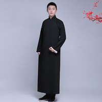 Wholesale Traditional Ethnic Dress - New arrival male cheongsam Chinese style costume cotton man Mandarin jacket long gown traditional Chinese Tang suit dress Ethnic Clothing