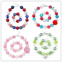 Wholesale baby beads bracelet - 68 Design Baby Girls Chunky Bead Necklace Bracelet Sets American Flag Unicorn Diamond Rose Bow Bubblegum Toddler Party Jewelry