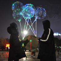 globo claro de la boda al por mayor-2018 globos bobo de moda con asa LED luces nocturnas ronda 18 pulgadas bola de bobo globos transparentes transparentes palo para la boda vacaciones venta caliente