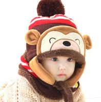 fantasia de gorro bebê criança venda por atacado-Inverno Bebê Infantil Da Criança Dos Desenhos Animados Crochet crianças Chapéu De Natal Traje gorro De Malha Animal Cap Menina Menino Macaco Cap