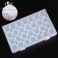 plastic container nail NZ - 3 Sets Nail Rhinestone Crystal Beads Accessories Container 28 Compartment Empty Nail Art Decoration Storage Plastic Case Box