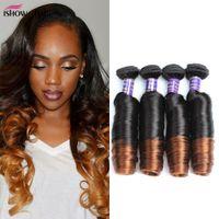 Wholesale human hair curly ombre bundle resale online - New Arrival Bouncy Curly Tone Ombre Brazilian Hair Weave Bundles quot quot T1B Remy Peruvian Human Hair Extensions