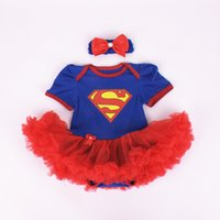 baby tutu romper red UK - 2PCs per Set Infant Lace Romper Red Ruffle Trim Blue Red Baby Girls Tutu Dress Headband for 0-12months Free Shipping