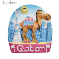 ingrosso resina cammello-Lychee Qatar Camel Resina Magnete Frigo Creativo 3D Cartoon Frigorifero Sticker Home Decoration Souvenir di viaggio