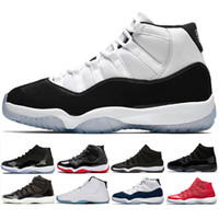 Wholesale roses night - New 11 Prom Night basketball Shoes blackout men women Cap and Gown gym red bred concord gamma blue Win Like 96 sports sneakers
