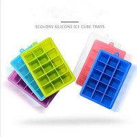 Wholesale great fruits - 15 Lattice Square Silicone Ice Cubes Trays With Lids Ice Mold Great For DIY Fruit Mud Cheeses Jelly Mold Frozen Beer Whiskey Bar tool