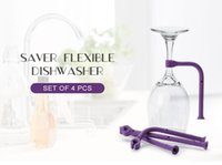 Wholesale Wine Accessory Wholesale - Quirky Tether Stemware Saver 4pcs set Saver Flexible Dishwasher Accessories Silicone Glass Bracket Creative Wine Glass Hanging Kitchen Tools
