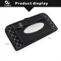 Wholesale tissue box multifunctional resale online - Car Tissue Box Card Slot Multifunctional Auto Sunvisor Universal Durable Stowing and Tidying Storage Box Car Leather Interior Accessories