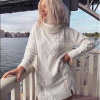 blusas folgadas mulheres venda por atacado-Branco das mulheres Camisola de Gola Alta Oco Out Grossa Cabo de Malha De Grandes Dimensões Camisola Vestido de Inverno Mulheres Quente Baggy Feminino