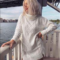 ingrosso baggy donne maglioni-Donna maglione dolcevita bianco scava fuori il cavo grosso maglia maglione oversize abito invernale donne calde larghe femminile