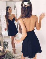 Wholesale New Stylish Girls - 2018 Sexy Backless Short Stylish Chic Homecoming Dresses New Cheap Chiffon V-neck Black Spaghetti-Straps Cocktail Dresses 16 Girl Prom Gowns
