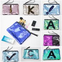 Wholesale glitter pens wholesale - Fashion Woman Makeup Handbag Reversible Glitter Mermaid Sequins Cosmetic Bag Handbag Makeup Pouch Pencil Case Pen Bag Zipper Box DHL Free