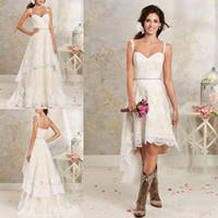 платьиты с низким низким свадебным платьем оптовых-Съемная юбка кружева линия свадебные платья бретельках аппликация высокая низкая страна лето пляж свадебные платья BA1855
