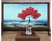 Wholesale oil pictures silk resale online - 3D wall murals wallpaper custom picture mural wall paper Huge oil painting rich tree TV background wallpaper for walls d home decor