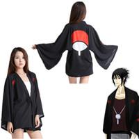 schwarzer cosplay kimono groihandel-One Size Japan Anime Naruto Uchiha Sasuke Schwarz Cosplay Unisex Kostüm Haori Chiffon Bademantel Kimono Pyjamas Umhang