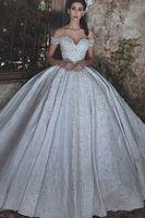 vestido de novia brillo marfil al por mayor-Glitters Corset Vintage Empire Princess Ball Gown Off Shoulder Crystal Ivory Satin Beads Lace Wedding Dress Apliques de alta calidad brillante