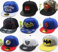 Wholesale Batman Ball - Hot Sale Many Style Children Cartoon Snapback Kid Superman Batman Spider-Man Baseball Cap Hip-Hop Hat Outdoor Cap