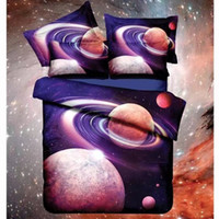 Wholesale hot pink beds online - Hot d Galaxy bedding sets Twin Queen Size Universe Outer Space Themed Bedspread Bed Linen Sheets Duvet Cover Starry sky