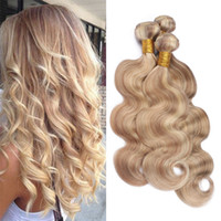 Wholesale blonde human hair weave wavy for sale - Group buy Honey Blonde with Blonde Mixed Piano Human Hair Bundles Body Wave Wavy Blonde Highligts Mixed Virgin Hair Wefts Weaves