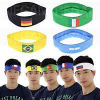 bayrak şeridi toptan satış-Ulusal Bayrak Kafa Bandı Fincan Futbol Hayranları Şerit Saç Bandı Yoga Fitness Parti Festivali Dekorasyon Malzemeleri Için WX9-519