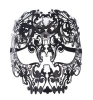 Wholesale metal skull mask masquerade online - Black Gold Silver Metal Laser Cut Full Skull Venetian Masquerade Mask Men Women Halloween Shows Ball Rhinestones Prom Party Mask