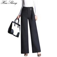 ingrosso cinture larghe per signore-Autunno Fashion Office Lady Style pantaloni formali vita alta pantaloni gamba larga Pantaloni neri donna con cintura Plus Size femminile