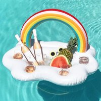 Wholesale Buffet Wholesale - Inflatable Rianbow Serving Bar 95*65*65CM PVC Buffet Party Ice Tray Cooler Salad Drinks Food Holder Fun Adults Kids Swim Party Toys
