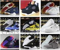 Wholesale money cool - High Quality 4 Cool Black Grey Denim black white blue Basketball Shoes Encore Lightning Pure Money Raptors Royalty Men 4s Sneakers With Box