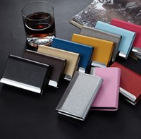 Wholesale stainless steel women business card holder resale online - Embossed PU Leather Stainless Steel Men Card Holder Women Metal Bank Name Business Card Case Card Box For Gift SN760