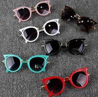 kızlar gözlük çerçeveleri çocuklar toptan satış-Kedi Göz Çocuk Güneş Erkek Kız Moda UV Koruma Güneş Gözlükleri Basit Sevimli Gözlük Çerçeve Çocuk Gözlük Yaz Plaj Aksesuarları