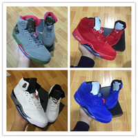 Wholesale Grape Boxes - with box retro 5 white cement red blue suede women men camo basketball shoes air metallic black white grape 5s sports shoes sneakers