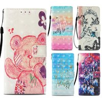 Wholesale 3d note case cartoon online - Cartoon Printed D Wallet Cases for iPhone X XS Max XR s Plus Kickstand Phone Cover bolso for Samsung Galaxy Note9 S8