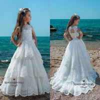 Wholesale Corset Girls - Pure White Lace Flower Girl Dresses 2018 Sheer Crew Neck Layers Ruffles Girls Pageant Dress with Corset Backless Long Appliques