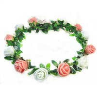 свадебный венок для волос оптовых-Rose Carnations Peony Flower Halo Bridal Floral Crown Cute Hair Band Wreath Mint Head Wreath Wedding Headpiece Bridesmaid WS502