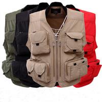 chaleco de caza de los hombres al por mayor-Chaleco para hombre 2017 chaleco de trabajo de verano Tactical Hunt con bolsillos para chaquetas para hombre