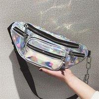 bolso hobo metalizado al por mayor-Venta caliente Paquete de Cintura Unisex PU Metálico Bolsa de Cintura Paquetes de Fanny Sparkle Cofre Paquete de Holograma Bolsos de Cintura Bolso de Hombro de Moda Bolsas de Mensajero