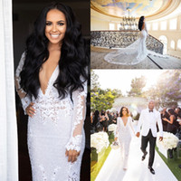 Wholesale long sexy wedding dresses online - African Full Lace Wedding Dress Sexy Mermaid Deep V Neck Backless Bridal Gowns With Super Long Sleeves Robe de soriee