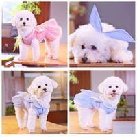 ingrosso fascia fiore blu-Pet Flower Stripe Dress Dogs Costume Gonna Princess Small Dog Pink Blue Abiti con fascia Summer Wedding Puppy Apparel AAA454