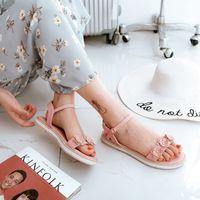 646e80bc299c78 2018 flower rivets gladiator sweet women sandals big size 31-43 flat heel  open toes buckle 4colors HX 95